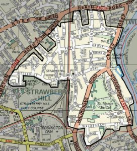 Map of the Strawberry Hill Residents Association area